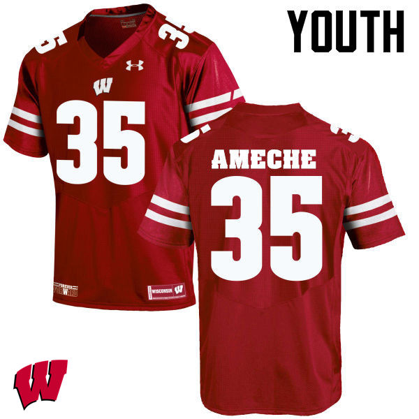 Youth Wisconsin Badgers #35 Alan Ameche College Football Jerseys-Red