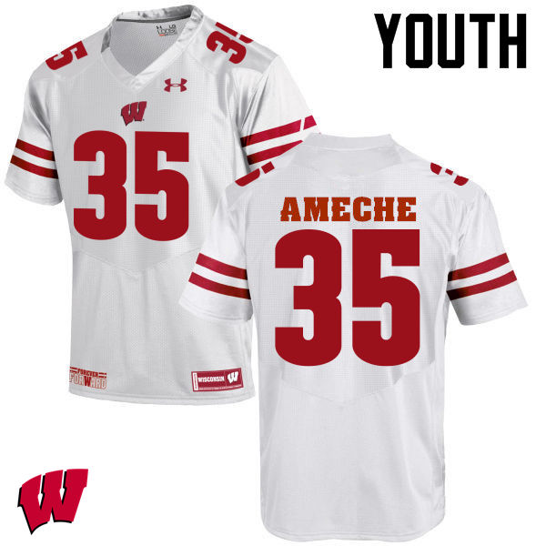 Youth Wisconsin Badgers #35 Alan Ameche College Football Jerseys-White