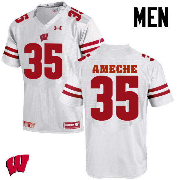 Men Wisconsin Badgers #35 Alan Ameche College Football Jerseys-White