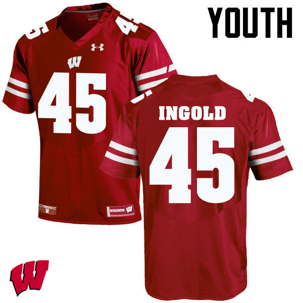 Youth Wisconsin Badgers #45 Alec Ingold College Football Jerseys-Red