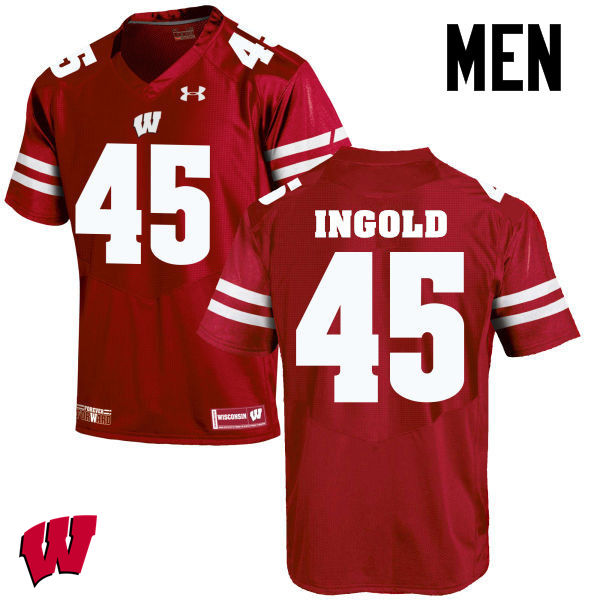 Men Wisconsin Badgers #45 Alec Ingold College Football Jerseys-Red