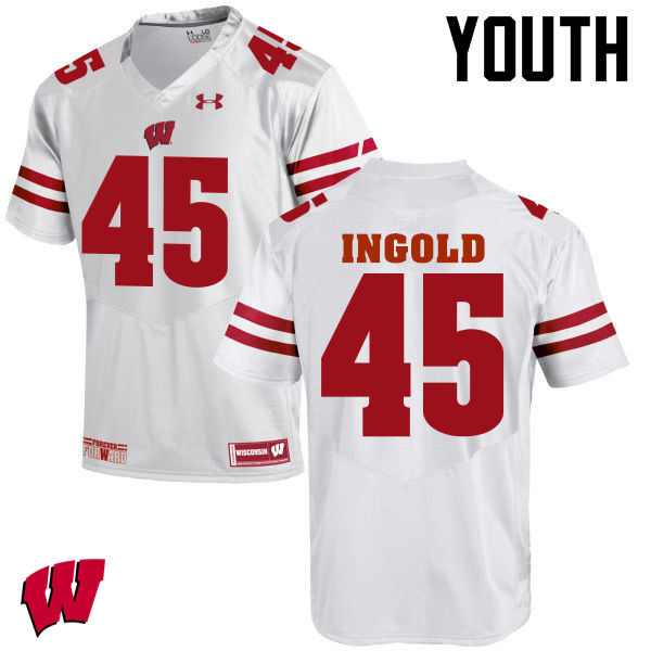 Youth Wisconsin Badgers #45 Alec Ingold College Football Jerseys-White