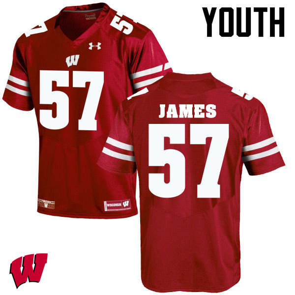 Youth Wisconsin Badgers #57 Alec James College Football Jerseys-Red