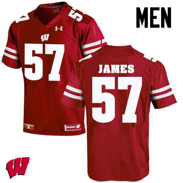 Men Wisconsin Badgers #57 Alec James College Football Jerseys-Red