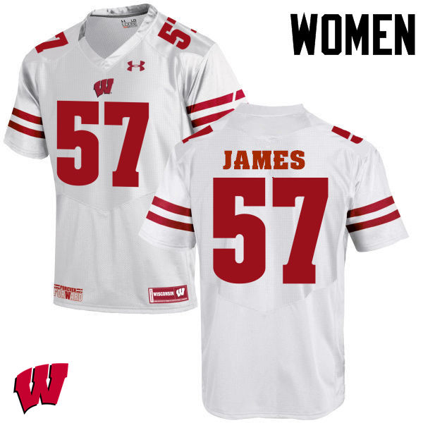 Women Wisconsin Badgers #57 Alec James College Football Jerseys-White
