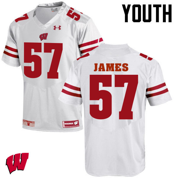 Youth Wisconsin Badgers #57 Alec James College Football Jerseys-White