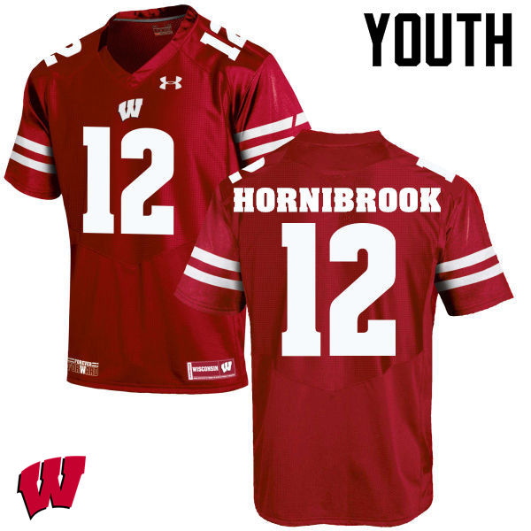 Youth Wisconsin Badgers #12 Alex Hornibrook College Football Jerseys-Red