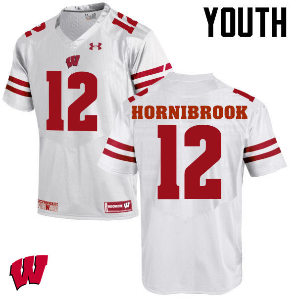 Youth Wisconsin Badgers #12 Alex Hornibrook College Football Jerseys-White