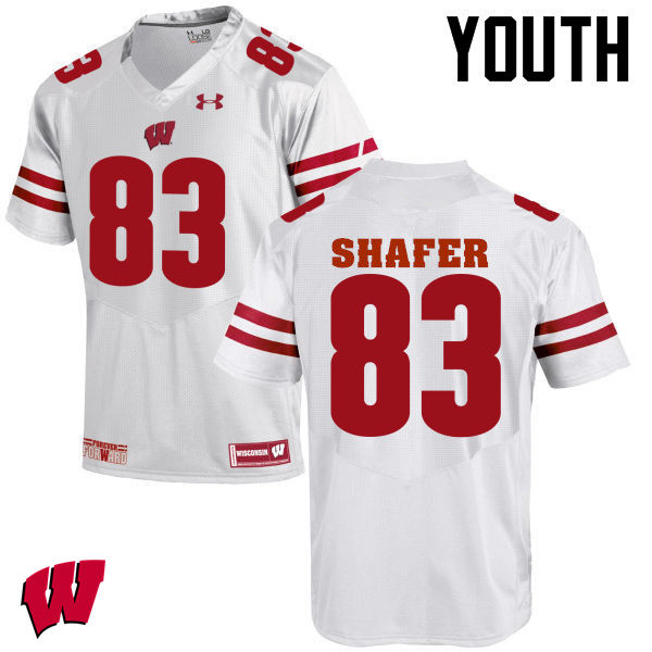 Youth Wisconsin Badgers #83 Allan Shafer College Football Jerseys-White