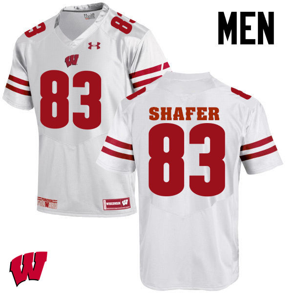 Men Wisconsin Badgers #83 Allan Shafer College Football Jerseys-White