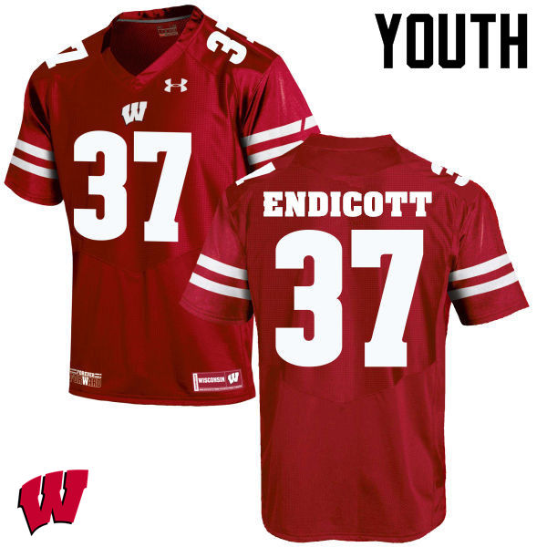 Youth Wisconsin Badgers #37 Andrew Endicott College Football Jerseys-Red