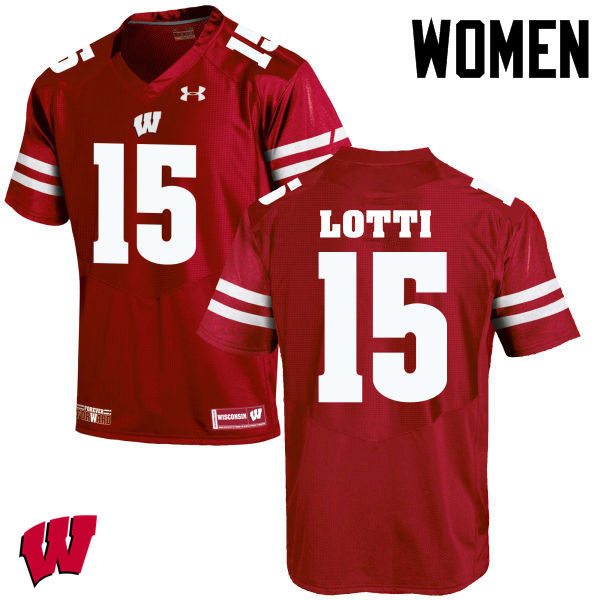 Women Wisconsin Badgers #15 Anthony Lotti College Football Jerseys-Red