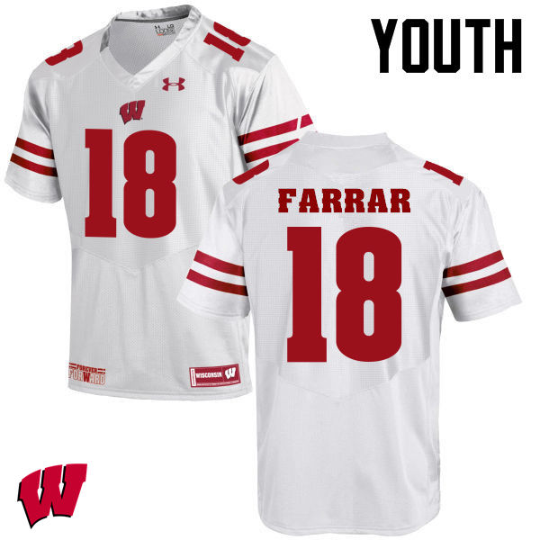Youth Wisconsin Badgers #21 Arrington Farrar College Football Jerseys-White