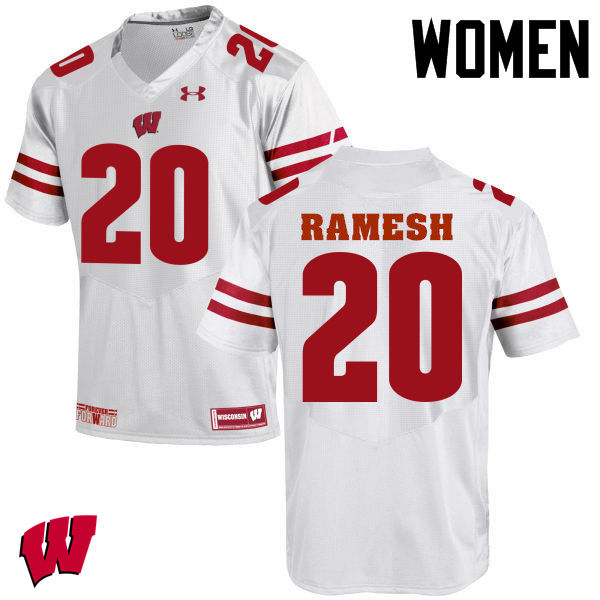 Women Wisconsin Badgers #20 Austin Ramesh College Football Jerseys-White