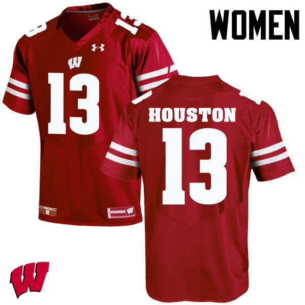 Women Wisconsin Badgers #13 Bart Houston College Football Jerseys-Red