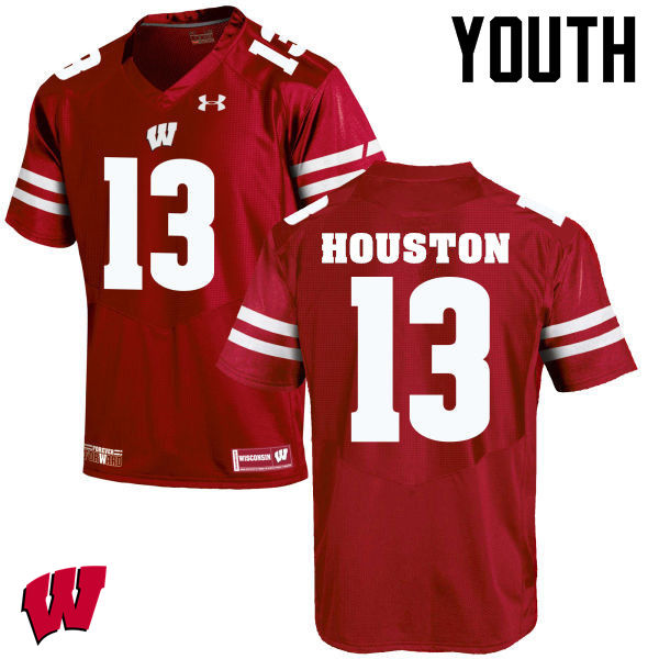 Youth Wisconsin Badgers #13 Bart Houston College Football Jerseys-Red