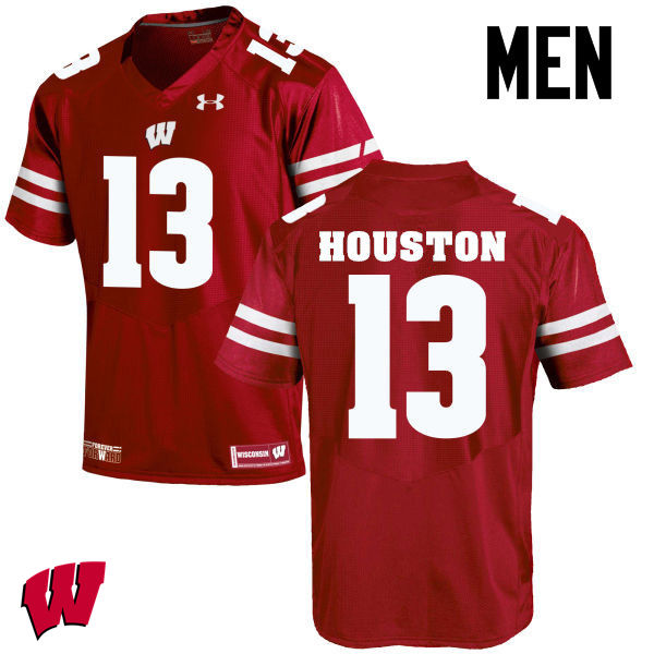 Men Wisconsin Badgers #13 Bart Houston College Football Jerseys-Red