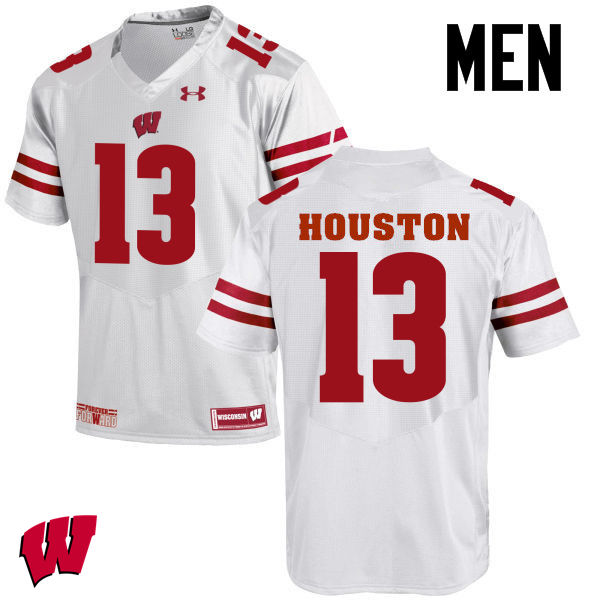 Men Wisconsin Badgers #13 Bart Houston College Football Jerseys-White