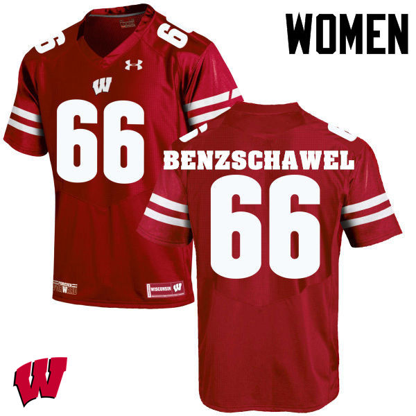 Women Wisconsin Badgers #66 Beau Benzschawel College Football Jerseys-Red