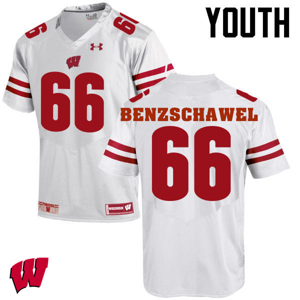 Youth Wisconsin Badgers #66 Beau Benzschawel College Football Jerseys-White