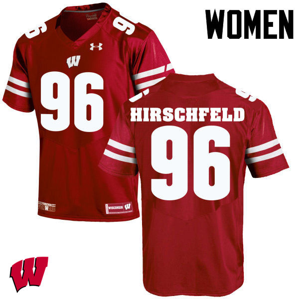 Women Wisconsin Badgers #96 Billy Hirschfeld College Football Jerseys-Red