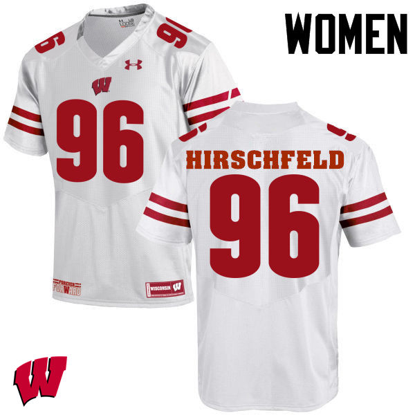 Women Wisconsin Badgers #96 Billy Hirschfeld College Football Jerseys-White