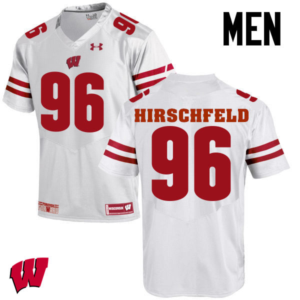Men Wisconsin Badgers #96 Billy Hirschfeld College Football Jerseys-White