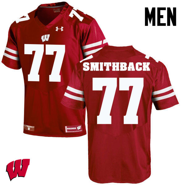 Men Winsconsin Badgers #77 Blake Smithback College Football Jerseys-Red
