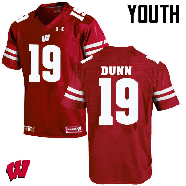 Youth Wisconsin Badgers #19 Bobby Dunn College Football Jerseys-Red
