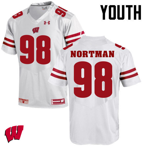 Youth Winsconsin Badgers #98 Brad Nortman College Football Jerseys-White