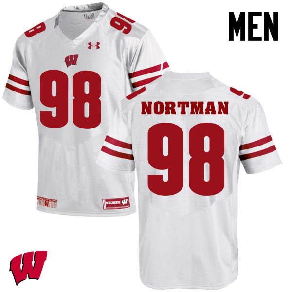 Men Winsconsin Badgers #98 Brad Nortman College Football Jerseys-White