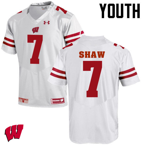 Youth Wisconsin Badgers #7 Bradrick Shaw College Football Jerseys-White