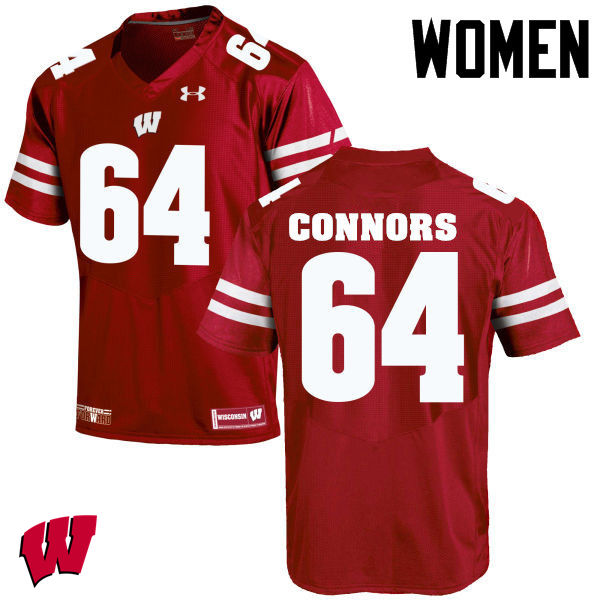 Women Wisconsin Badgers #64 Brett Connors College Football Jerseys-Red