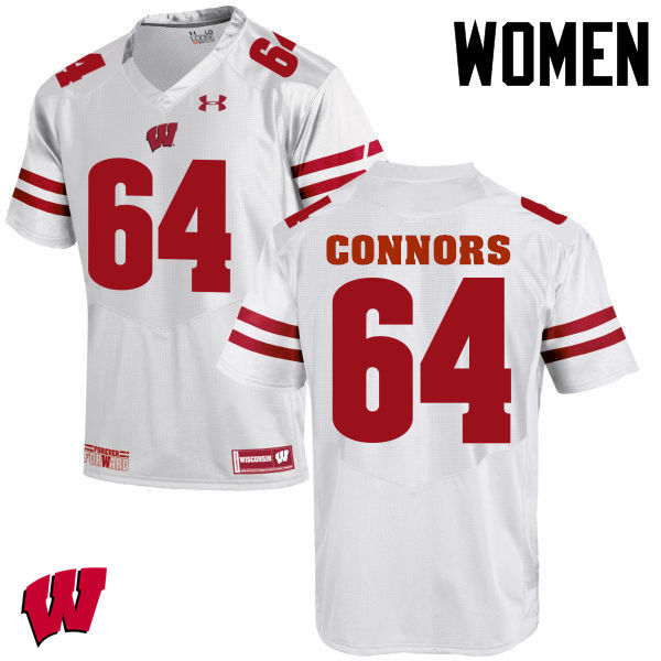 Women Wisconsin Badgers #64 Brett Connors College Football Jerseys-White