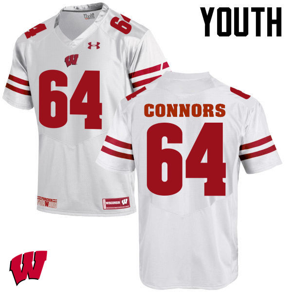 Youth Wisconsin Badgers #64 Brett Connors College Football Jerseys-White