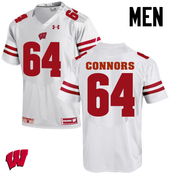 Men Wisconsin Badgers #64 Brett Connors College Football Jerseys-White