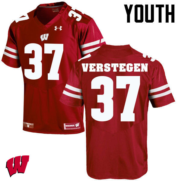 Youth Wisconsin Badgers #37 Brett Verstegen College Football Jerseys-Red