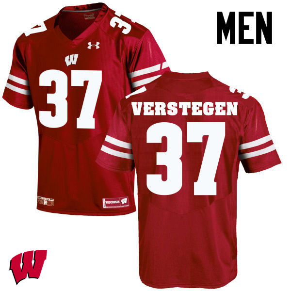 Men Wisconsin Badgers #37 Brett Verstegen College Football Jerseys-Red