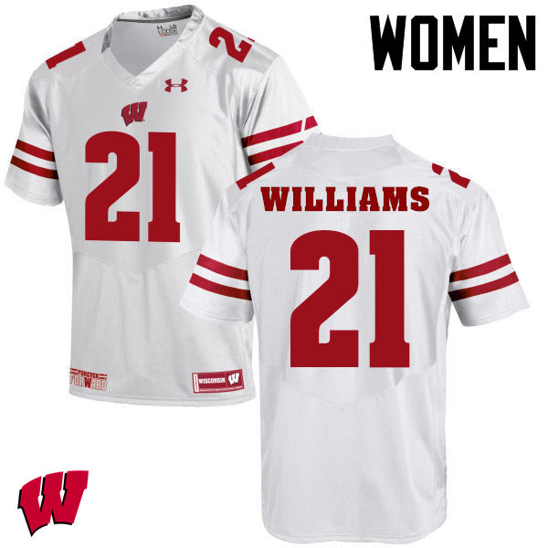 Women Wisconsin Badgers #18 Caesar Williams College Football Jerseys-White