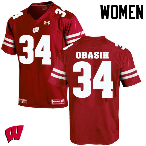 Women Wisconsin Badgers #34 Chikwe Obasih College Football Jerseys-Red