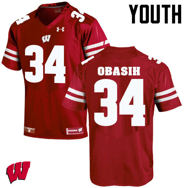 Youth Wisconsin Badgers #34 Chikwe Obasih College Football Jerseys-Red