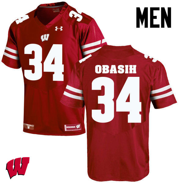 Men Wisconsin Badgers #34 Chikwe Obasih College Football Jerseys-Red