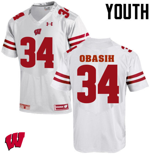 Youth Wisconsin Badgers #34 Chikwe Obasih College Football Jerseys-White