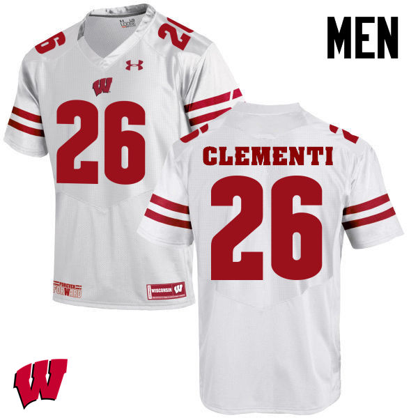 Men Winsconsin Badgers #26 Chris Clementi College Football Jerseys-White
