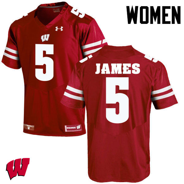 Women Wisconsin Badgers #5 Chris James College Football Jerseys-Red