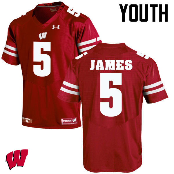 Youth Wisconsin Badgers #5 Chris James College Football Jerseys-Red