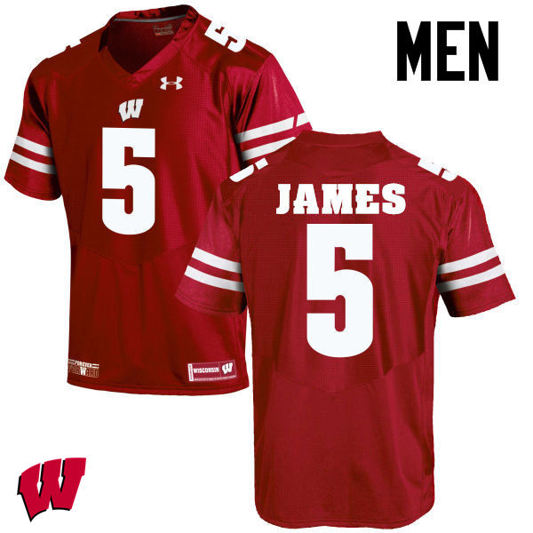Men Wisconsin Badgers #5 Chris James College Football Jerseys-Red