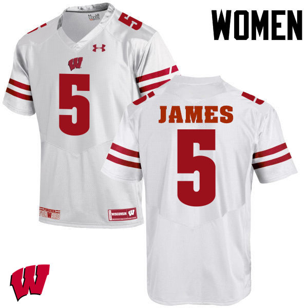 Women Wisconsin Badgers #5 Chris James College Football Jerseys-White