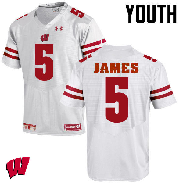 Youth Wisconsin Badgers #5 Chris James College Football Jerseys-White