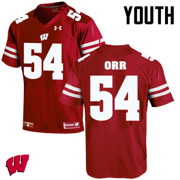 Youth Winsconsin Badgers #54 Chris Orr College Football Jerseys-Red